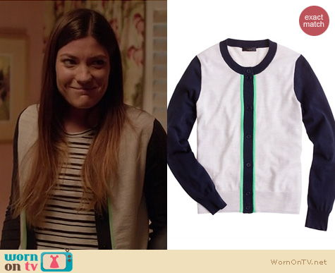 Dexter Fashion: J. Crew Merino Colorblock cardigan in Grey Mint worn by Jennifer Carpenter