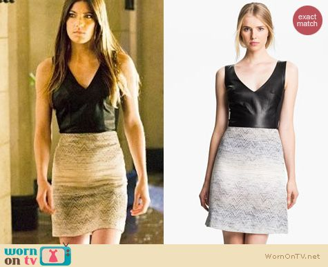 Dexter Fashion: L'Agence leather and jacquard dress worn by Jennifer Carpenter