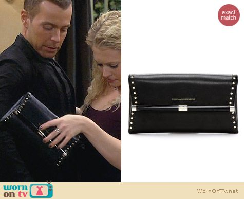Diane von Furstenberg 440 Studded Envelope Clutch worn by Melissa Joan Hart on Melissa & Joey