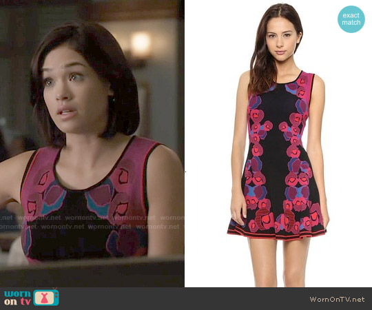 Diane von Furstenberg Sleeveless Jacquard Body Con Dress worn by Nicole Gale Anderson on Beauty & the Beast
