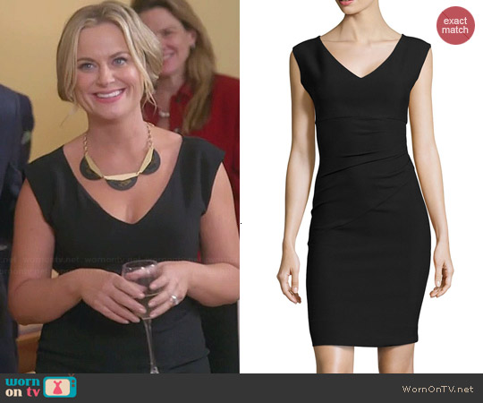 Diane von Furstenberg Sleeveless V-Neck Asymmetric-Seamed Dress worn by Amy Poehler on Parks & Recreation