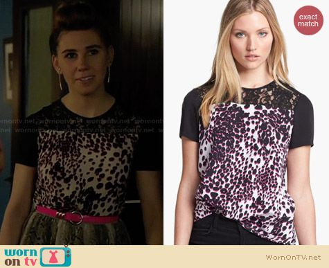 Diane von Furstenberg Ainslee Silk Lace Tee in Purple worn by Zosia Mamet