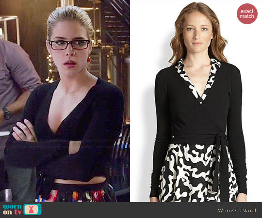 Diane von Furstenberg Ballerina Cropped Sweater worn by Emily Bett Rickards on Arrow