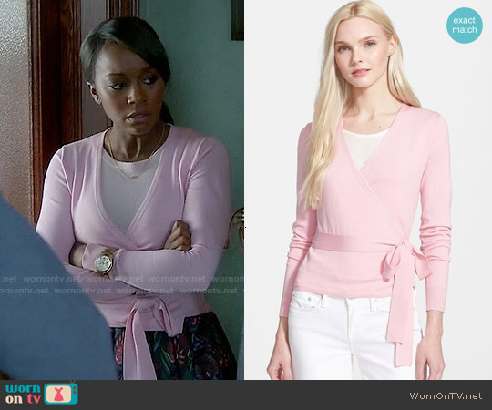 Diane von Furstenberg Ballerina Wrap Sweater worn by Michaela Pratt on HTGAWM