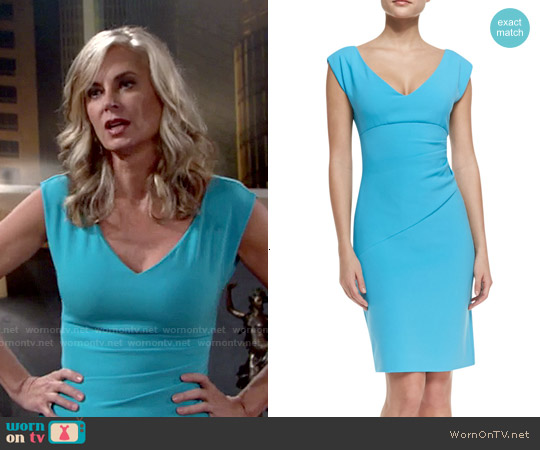 Diane von Furstenberg Bevin Dress in Aztec Blue worn by Eileen Davidson on The Young & the Restless