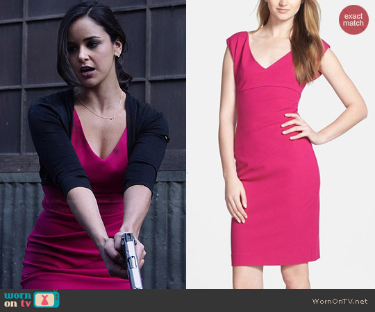Diane von Furstenberg Bevin Dress in Pink worn by Melissa Fumero on Brooklyn Nine-Nine