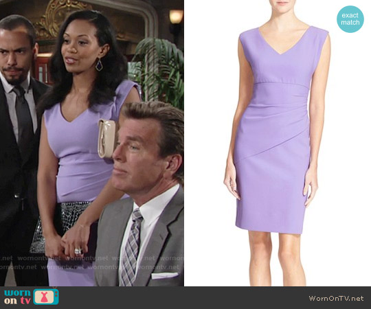 Diane von Furstenberg Bevin Dress in Lavender worn by Mishael Morgan on The Young & the Restless