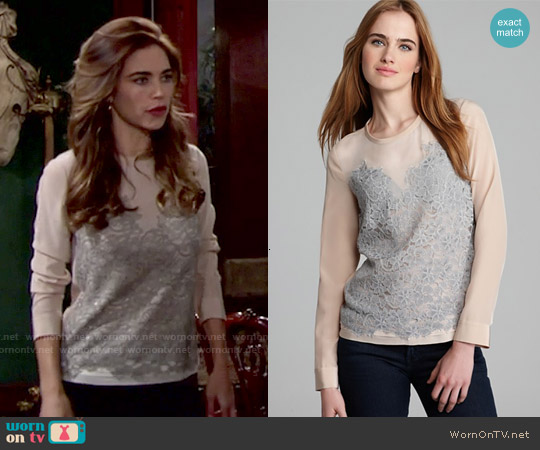 Diane von Furstenberg Branwen Lace Top worn by Amelia Heinle on The Young & the Restless
