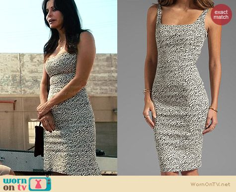 Diane von Furstenberg Bridget Snake Wave Jacquard Dress worn by Courtney Cox on Cougar Town