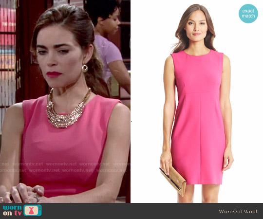 Diane von Furstenberg Carrie Dress in Hot Rose worn by Amelia Heinle on The Young & the Restless