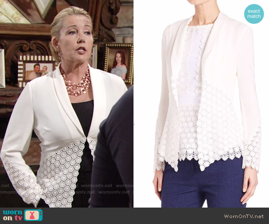 Diane von Furstenberg Castilla Medallion Lace Paneled Jacket worn by Melody Thomas-Scott on The Young & the Restless