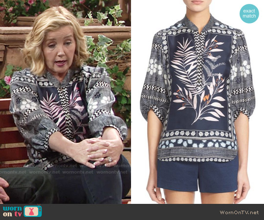 Diane von Furstenberg Chrystie Top worn by Melody Thomas-Scott on The Young & the Restless