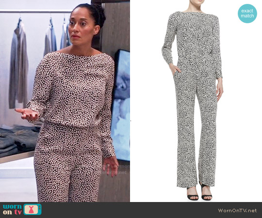 Diane von Furstenberg Cynthia Jumpsuit in Rose Heart Black worn by Tracee Ellis Ross on Blackish