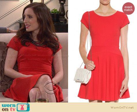 Diane von Furstenberg Delyse Dress in Red worn by Zoe Lister Jones on FWBL