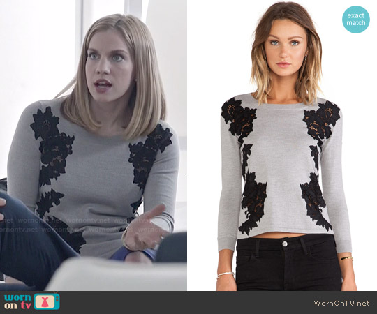 Diane von Furstenberg 'Doreen' Floral Applique Pullover worn by Anna Chlumsky on Veep