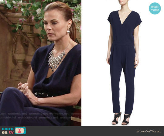Diane von Furstenberg Emerson Jumpsuit in Midnight worn by Gina Tognoni on The Young & the Restless