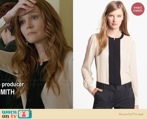 Diane von Furstenberg Etta Colorblock Blouse worn by Darby Stanchfield on Scandal