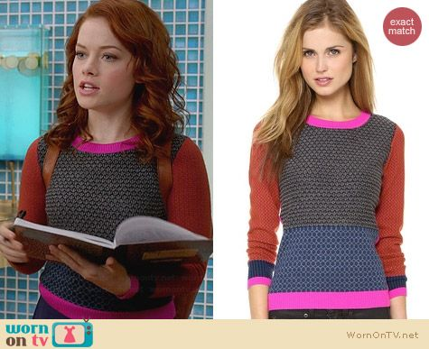 Diane von Furstenberg Fairlee Sweater worn by Jane Levy on Suburgatory