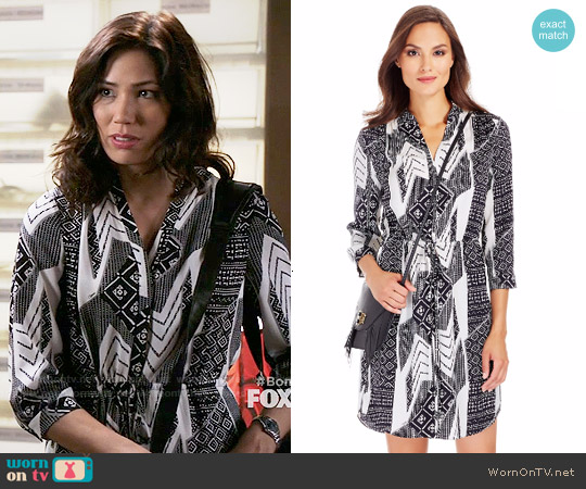 Diane von Furstenberg Freya Dress in Ethnic Collage worn by Michaela Conlin on Bones