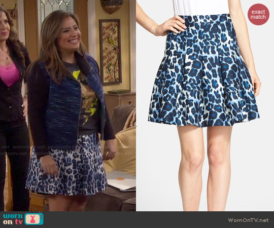 Diane von Furstenberg Gemma Leopard Print Pleated Skirt worn by Cristela on Cristela