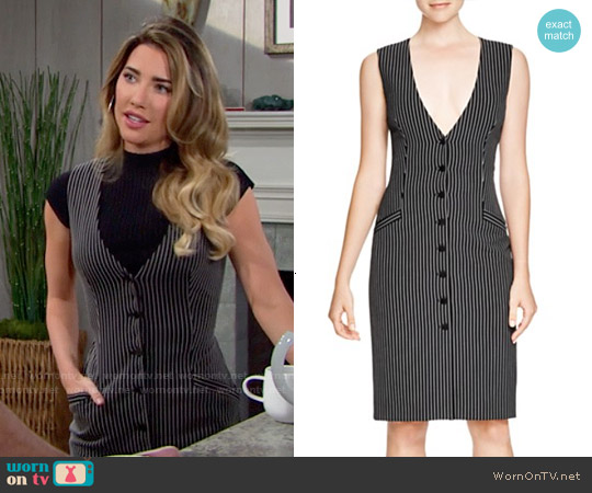 Diane von Furstenberg  Gilet Pinstripe Dress worn by Jacqueline MacInnes Wood on The Bold & the Beautiful
