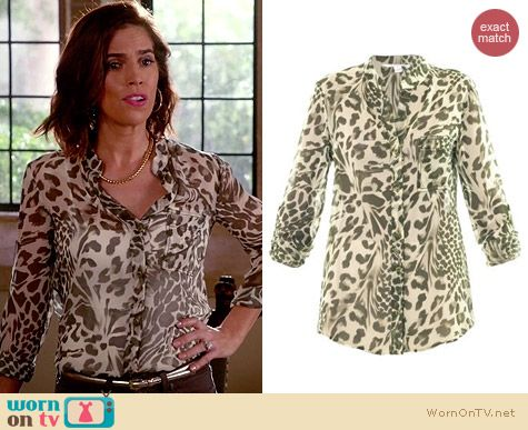 Diane von Furstenberg Gilmore Shirt in Feather Leopard worn by Ana Ortiz on Devious Maids