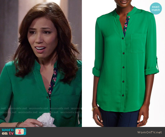 Diane von Furstenberg Gilmore Blouse in Emerald worn by Michaela Conlin on Bones