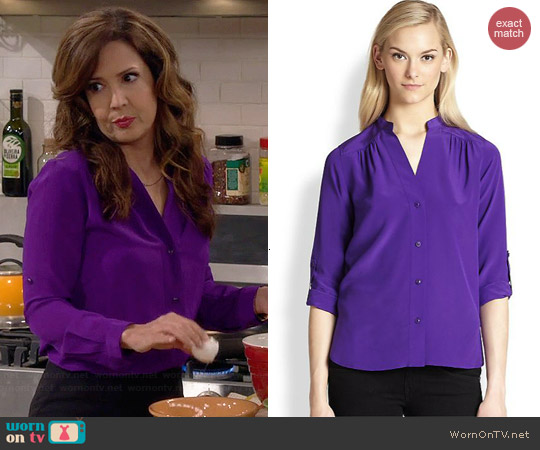 Diane von Furstenberg Harlow Blouse in Acid Grape worn by Maria Canals-Barrera on Cristela