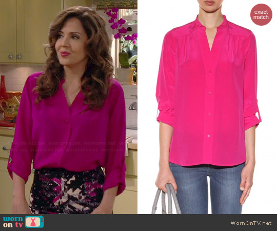 Diane von Furstenberg Harlow Blouse in Lotus Berry worn by Maria Canals-Barrera on Cristela