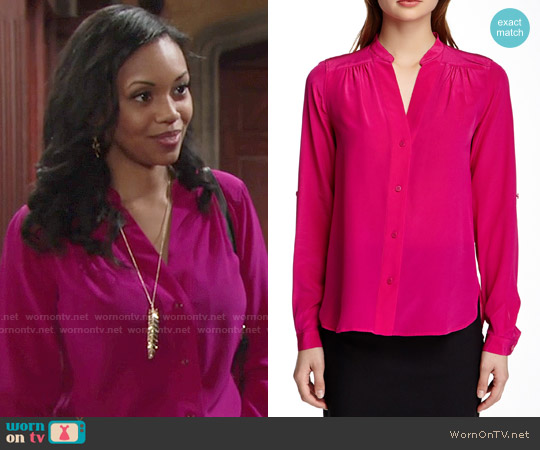 Diane von Furstenberg Harlow Blouse worn by Mishael Morgan on The Young & the Restless