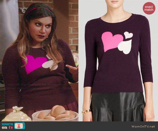 Diane von Furstenberg Cashmere Heart Intarsia Sweater worn by Mindy Kaling on The Mindy Project