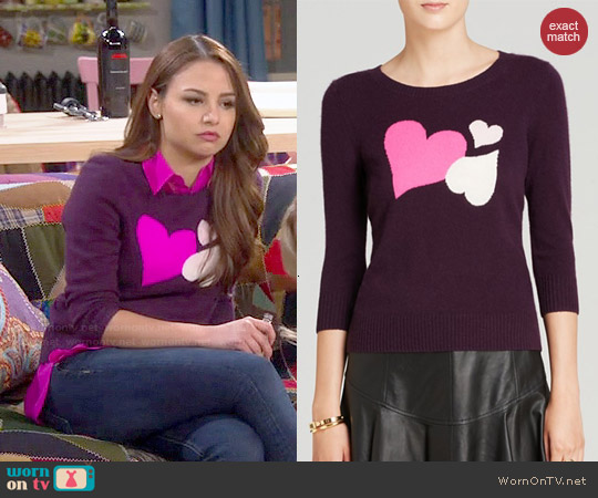 Diane von Furstenberg Cashmere Heart Intarsia Sweater worn by Aimee Carrero on Young & Hungry