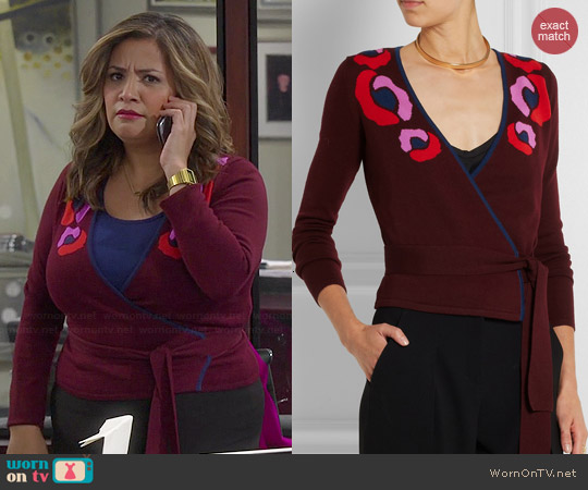 Diane von Furstenberg Intarsia Wool Wrap Cardigan worn by Cristela Alonzo on Cristela