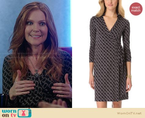 Diane von Furstenberg Jeanne Dress in Gray Print worn by Darby Stanchfield