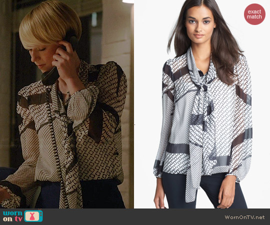 Diane von Furstenberg Jezebel Blouse worn by Karine Vanasse on Revenge