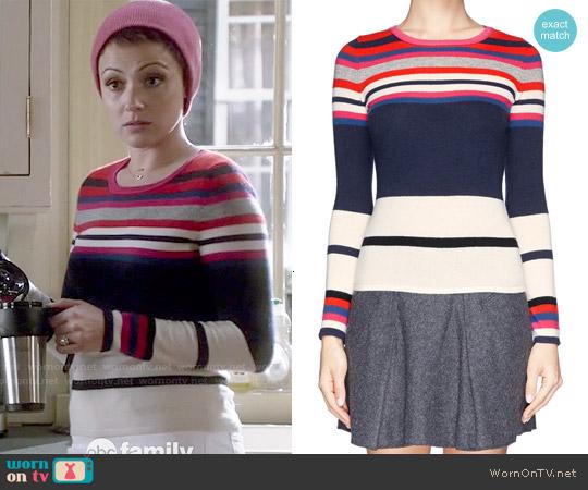 Diane von Furstenberg Jolanta Stripe Cashmere Sweater worn by Italia Ricci on Chasing Life