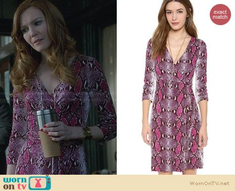 Diane von Furstenberg Julian Two Dress in Python Pop Medium Pink Thistle worn by Darby Stanchfield on Scandal