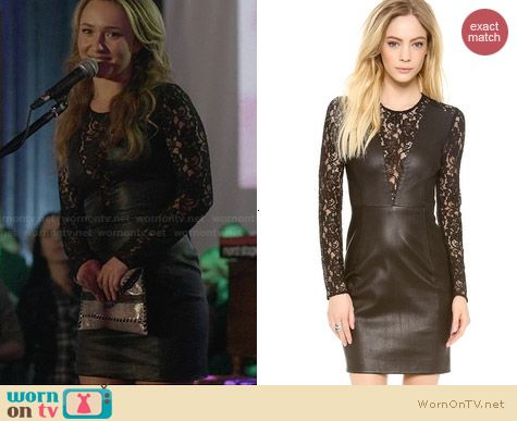 Diane von Furstenberg Kameela Leather and Lace Dress worn by Hayden Panettiere on Nashville