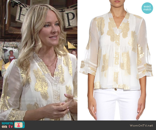 Diane von Furstenberg Layla Blouse worn by Sharon Case on The Young & the Restless