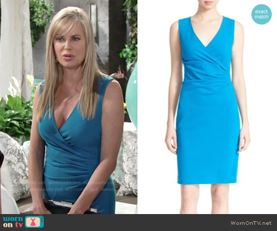 Diane von Furstenberg Layne Dress in Atlantis Blue worn by Eileen Davidson on The Young & the Restless