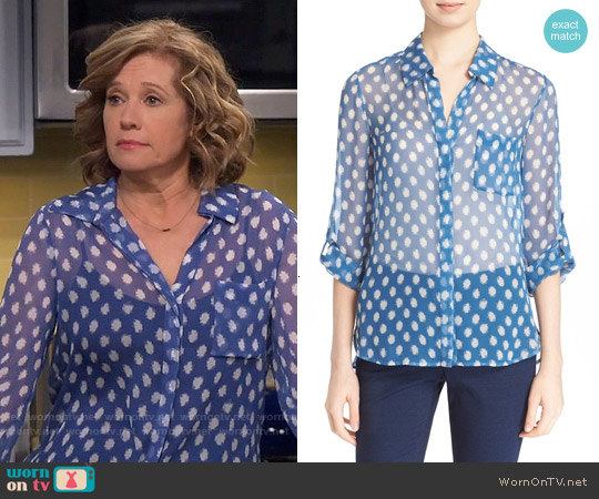 Diane von Furstenberg Lorelei Two Blouse in Dotted Batick Blue worn by Nancy Travis on Last Man Standing