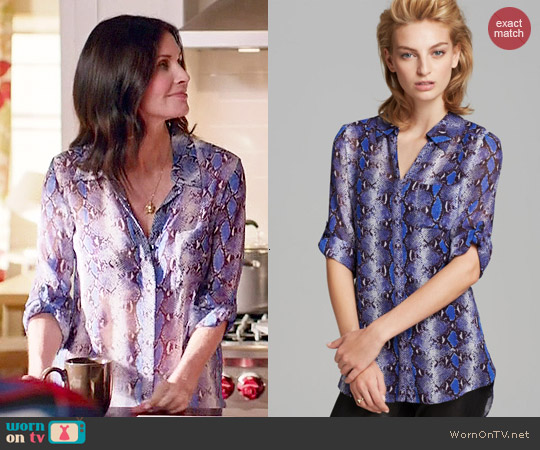 Diane von Furstenberg 'Lorelei Two' Python Print Blouse worn by Courtney Cox on Cougar Town