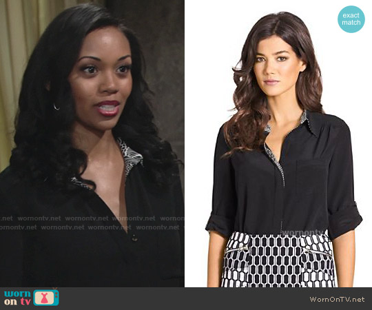 Diane von Furstenberg Lorelei Black Blouse worn by Mishael Morgan on The Young & the Restless