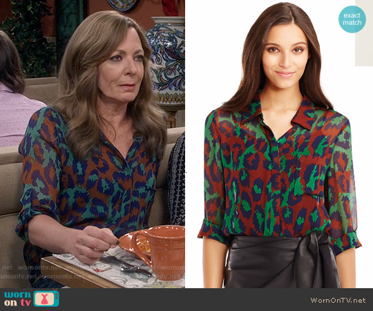 Diane von Furstenberg Lorelei Top in Leopard Medium Green worn by Allison Janney on Mom