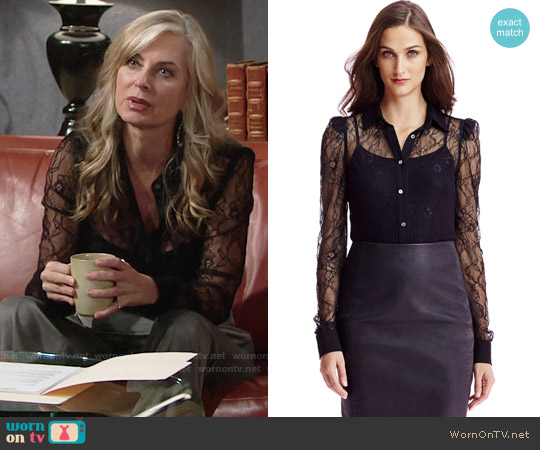 Diane von Furstenberg Mariah Lace Shirt worn by Eileen Davidson on The Young & the Restless