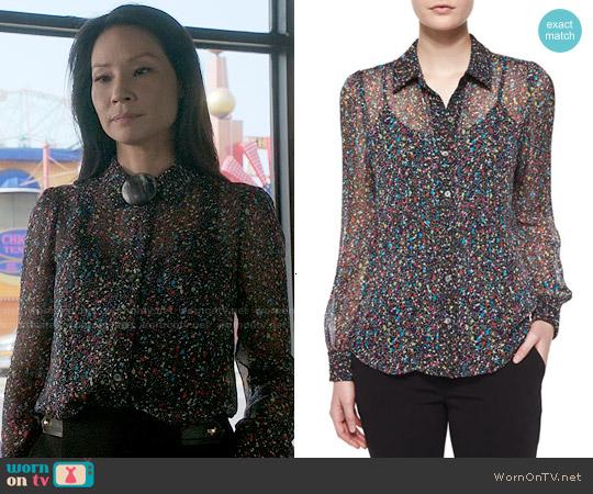 Diane von Furstenberg Mariah Splatter Print Silk Blouse worn by Lucy Liu on Elementary