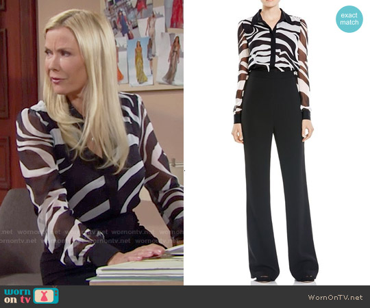 Diane von Furstenberg Mariah Zebra Jumpsuit worn by Katherine Kelly Lang on The Bold & the Beautiful