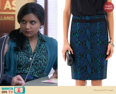 Diane von Furstenberg Marta Skirt in Blue Snakeskin worn by Mindy Kaling on The Mindy Project