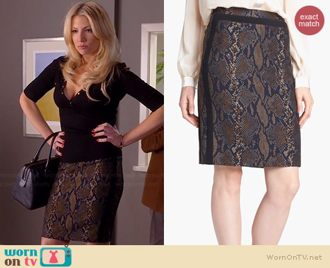 Diane von Furstenberg Marta Pencil Skirt in Brown Snake Print worn by Ari Graynor on Bad Teacher