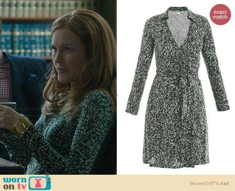 Diane von Furstenberg New Jeanne Two Dress in Grass worn by Darby Stanchfield on Scandal